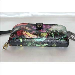 Elliott Lucca Bags - New! Elliott Lucca black floral wristlet wallet
